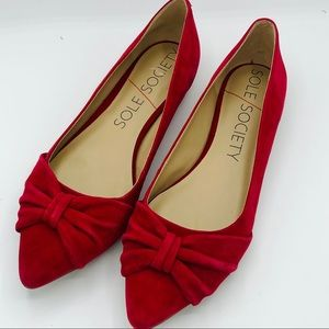 Sole Society Aamira Red Suede Pointed Bow Flats
